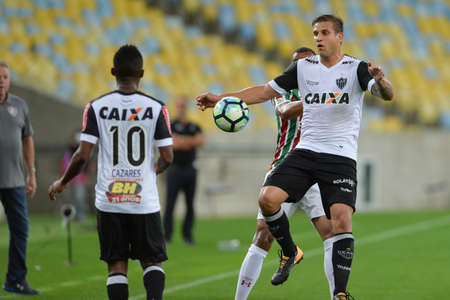 Rio, Brazil - august 21, 2017: Rafael Moura player in match between Fluminense and  Atletico-MG by the Brazilian championship in Maracana Stadium