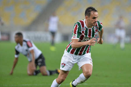 Rio, Brazil - august 21, 2017: Lucas player in match between Fluminense and  Atletico-MG by the Brazilian championship in Maracana Stadium Editorial