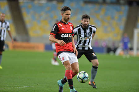 Rio, Brazil - august 23, 2017: Diego player in match between Flamengo and  Botafogo by the Brazil Cup in Maracana Stadium