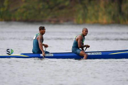 Rio de Janeiro, Brazil. August 20, 2016. de SOUZA SILVA Erlon and QUEIROZ dos SANTOS Isaquias (BRA) during Mens Canoe Double 1000m final at the 2016 Summer Olympic Games in Rio de Janeiro. Editorial