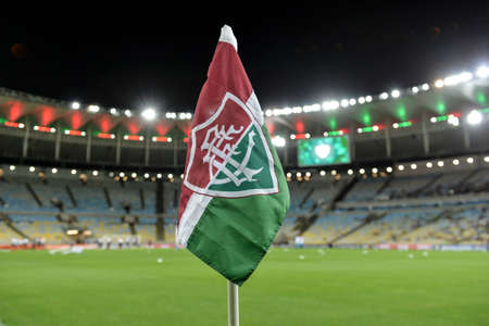 Rio, Brazil - august 05, 2017: corner flag in match between Fluminense and  Atletico-GO by the Brazilian championship in Maracana Stadium
