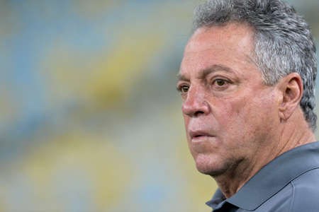Rio, Brazil - august 21, 2017: Abel Braga coach in match between Fluminense and  Atletico-MG by the Brazilian championship in Maracana Stadium
