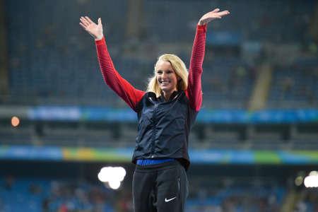Rio de Janeiro, Brazil - aug 20, 2016: Sandi MORRIS (USA) silver medal;  wards ceremony the womens pole vault during the Rio 2016 Olympic Games Editorial