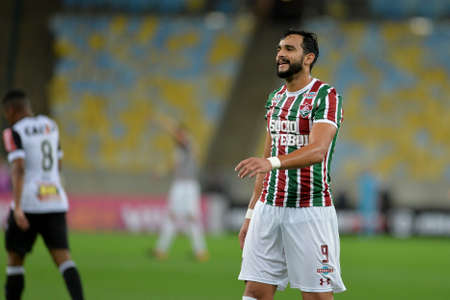 Rio, Brazil - august 21, 2017: Henrique Dourado player in match between Fluminense and  Atletico-MG by the Brazilian championship in Maracana Stadium