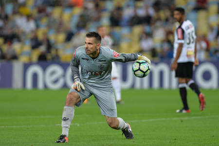 Rio, Brazil - august 21, 2017: Victor goal keeper in match between Fluminense and  Atletico-MG by the Brazilian championship in Maracana Stadium