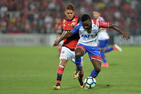 Rio, Brazil - october 19, 2017: Mendoza player in match between Flamengo and Bahia by the Brazilian championship in Ilha do Urubu Stadium
