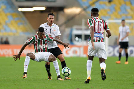Rio, Brazil - july 23, 2017: Leo player in match between Fluminense and  Corinthians by the Brazilian championship in Maracana Stadium