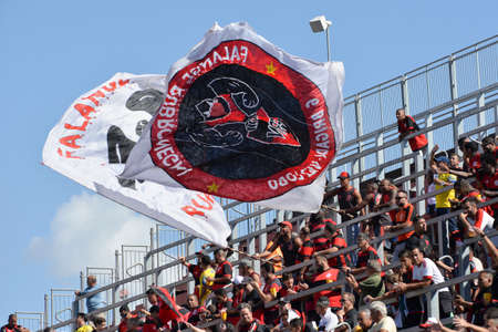 Rio, Brazil - august 06, 2017: Fans player in match between Flamengo and Vitoria by the Brazilian championship in Ilha do Urubu Stadium