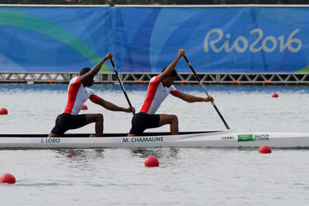 Rio de Janeiro, Brazil, august 20, 2016. CANOE SPRINT - CHAMAUNE Mussa,  LOBO Joaquim (MOZ) during Mens Canoe Double 1000m at the 2016 Summer Olympic Games in Rio de Janeiro.