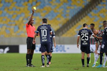 Rio, Brazil - jun 29, 2017: Gustavo Murillo (COL) referee in match between Fluminense and Univ. Catolica (ECU) by the Sudamerica Cup in Maracana Stadium Editorial