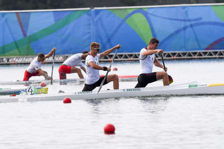 Rio de Janeiro, Brazil. August 20, 2016. BRENDEL Sebastian and VANDREY Jan (GER) during Mens Canoe Double 1000m final at the 2016 Summer Olympic Games in Rio de Janeiro.