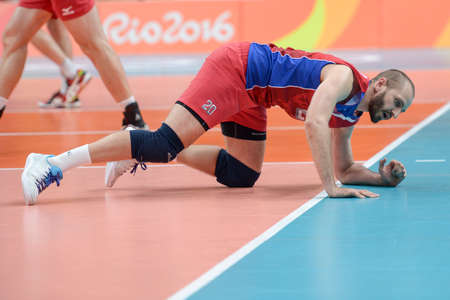 Rio de Janeiro, Brazil - august 19, 2016: Artem ERMAKOV (RUS) during Mens Volleyball,match Brazil and Russia in the Rio 2016 Olympics