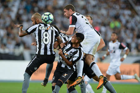 Rio, Brazil - july 26, 2017: Gabriel e Bruno Silva player in match between Botafogo and  Atletico-MG by the Brazil Cup in Nilton Santos Stadium