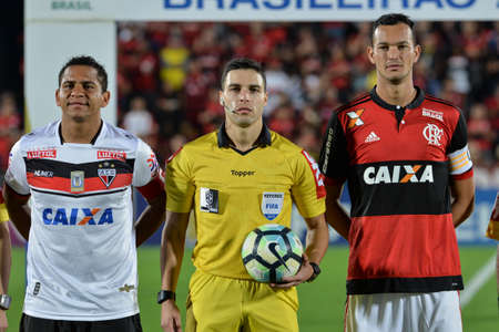 Rio, Brazil - august 19, 2017: Rodolpho Toski Marques referee in match between Flamengo and  Atletico-GO by the Brazilian championship in Ninho do Urubu Stadium