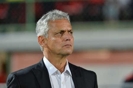 Rio, Brazil - august 19, 2017: Reinaldo Rueda coach in match between Flamengo and  Atletico-GO by the Brazilian championship in Ninho do Urubu Stadium