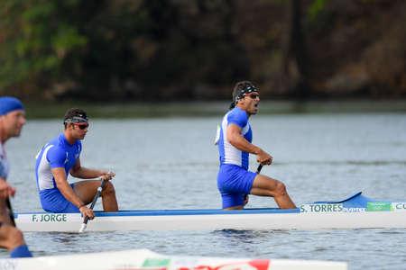 Rio de Janeiro, Brazil. August 20, 2016. TORRES Serguey and JORGE Fernando Dayan (CUB) during Mens Canoe Double 1000m final at the 2016 Summer Olympic Games in Rio de Janeiro.