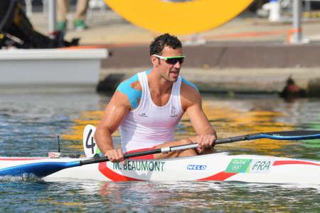 Rio de Janeiro, Brazil. August 20, 2016. CANOE SPRINT - BEAUMONT Maxime (FRA) during Mens Kayak single 200m at the 2016 Summer Olympic Games in Rio de Janeiro. Editorial