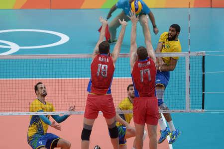 Río de Janeiro, Brasil - 19 de agosto de 2016: Wallace de SOUZA (BRA) durante el voleibol masculino, partido de Brasil y Rusia en los Juegos Olímpicos de Río 2016 Editorial