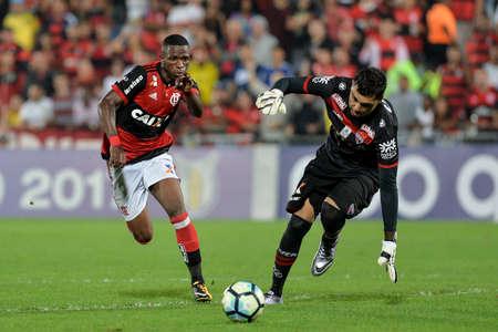 Rio, Brazil - august 19, 2017: Vinicius Junior player in match between Flamengo and  Atletico-GO by the Brazilian championship in Ninho do Urubu Stadium