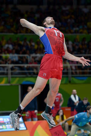 Rio de Janeiro, Brazil - august 19, 2016: Maxim MIKHAYLOV (RUS) during Mens Volleyball,match Brazil and Russia in the Rio 2016 Olympics Editorial