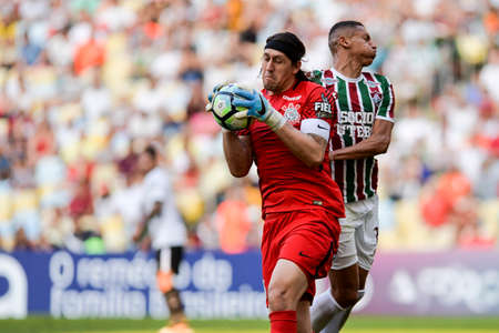 Rio, Brazil - july 23, 2017: Cassio keeper in match between Fluminense and  Corinthians by the Brazilian championship in Maracana Stadium