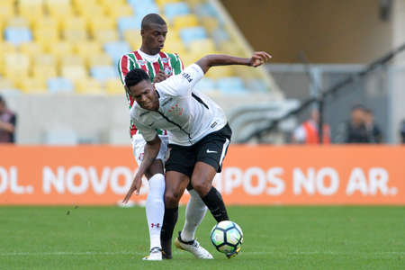 Rio, Brazil - july 23, 2017: Jô and Frazan player in match between Fluminense and  Corinthians by the Brazilian championship in Maracana Stadium