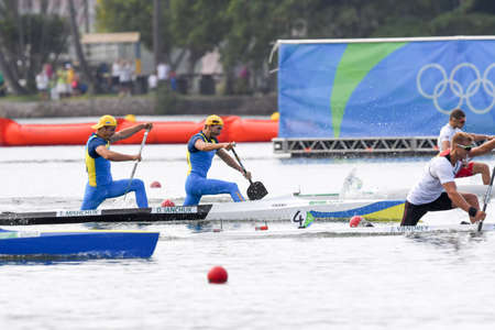 Rio de Janeiro, Brazil. August 20, 2016. IANCHUK Dmytro and MISHCHUK Taras (UKR) during Mens Canoe Double 1000m final at the 2016 Summer Olympic Games in Rio de Janeiro. Editorial