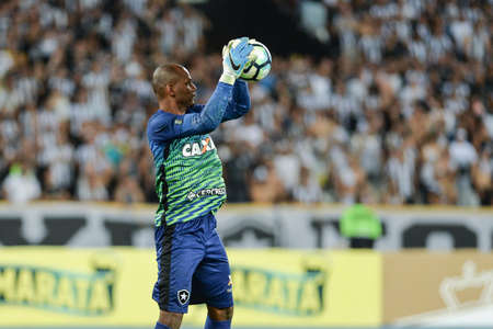 Rio, Brazil - july 26, 2017: Jefferson keeper in match between Botafogo and  Atletico-MG by the Brazil Cup in Nilton Santos Stadium Editorial