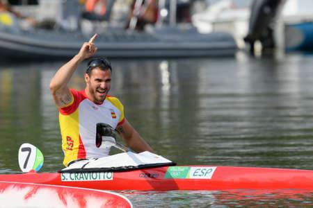 Rio de Janeiro, Brazil. August 20, 2016. CANOE SPRINT - CRAVIOTTO Saul (ESP) during Mens Kayak single 200m at the 2016 Summer Olympic Games in Rio de Janeiro.