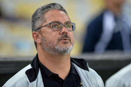Rio, Brazil - august 21, 2017: Rogério Michael coach in match between Fluminense and  Atletico-MG by the Brazilian championship in Maracana Stadium