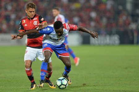 Rio, Brazil - october 19, 2017: Mendoza and Cuellar player in match between Flamengo and Bahia by the Brazilian championship in Ilha do Urubu Stadium