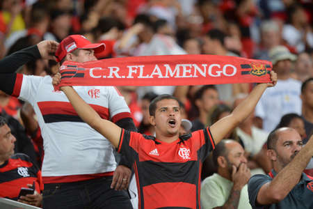 Rio, Brazil - november 23, 2017: fan player in match between Flamengo and Junior de Barranquilla by the Brazilian championship in Maracana Stadium Editorial