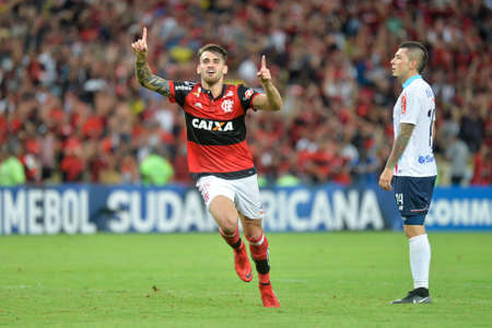 Rio, Brazil - november 23, 2017: Felipe Vizeu player in match between Flamengo and Junior de Barranquilla by the Brazilian championship in Maracana Stadium