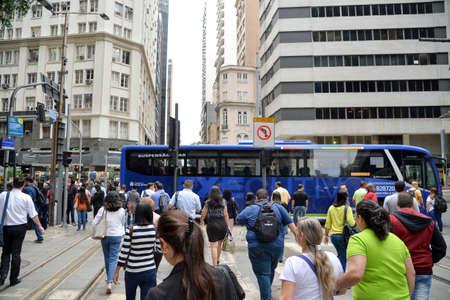 Rio de Janeiro, Brazil - december 01, 2017: Center of the city of Rio de Janeiro after reform of Rio Branco Avenue, through which the VLT passes today