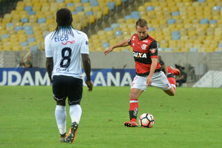 Rio, Brazil - november 23, 2017: Everton Ribeiro player in match between Flamengo and Junior de Barranquilla by the Brazilian championship in Maracana Stadium