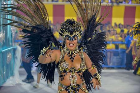 Rio de Janeiro, RJ/Brazil - February 09, 2018: Samba School parade in Sambodromo. Unidos de Bangu during festival at Marques de Sapucai Street Editorial