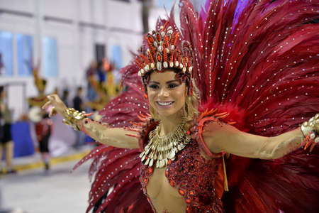Rio de Janeiro, RJBrazil - February 09, 2018: Samba School parade in Sambodromo. Unidos de Bangu during festival at Marques de Sapucai Street. Queen of Percussion Lexa.