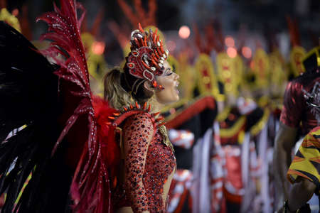 Rio de Janeiro, RJ/Brazil - February 09, 2018: Samba School parade in Sambodromo. Unidos de Bangu during festival at Marques de Sapucai Street. Queen of Percussion Lexa.