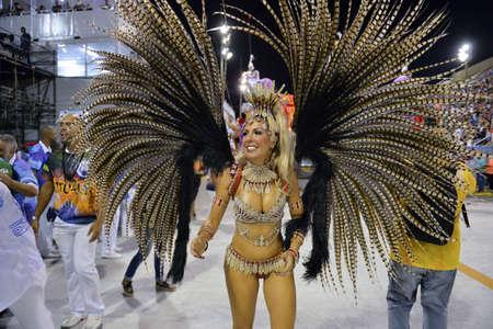 Rio de Janeiro, RJ/Brazil - february 09, 2018: Samba School parade in Sambodromo. Academicos do Sossego during festival at Marques de Sapucai Street. Muse Samantha Flores