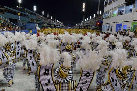 Rio de Janeiro, RJ/Brazil - february 09, 2018: Samba School parade in Sambodromo. Unidos do Porto da Pedra during festival at Marques de Sapucai Street.