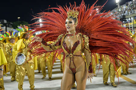 Rio, Brazil - february 09, 2018: Samba School parade in Sambodromo. Estacio during parade of the carioca carnival in the Marques de Sapucai