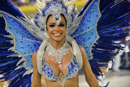 Rio, Brazil - february 10, 2018: Samba School parade in Sambodromo. Academicos de Santa Cruz during parade of the carioca carnival in the Marques de Sapucai