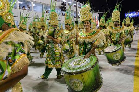 'Rio de Janeiro, RJ/Brazil - February 09, 2018: Samba School parade in Sambodromo. Imperio da Tijuca during festival at Marques de Sapucai Street.