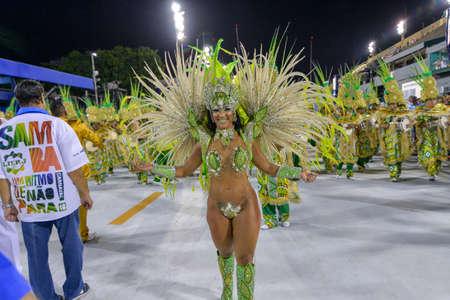 Rio de Janeiro, RJ/Brazil - February 09, 2018: Samba School parade in Sambodromo. Imperio da Tijuca during festival at Marques de Sapucai Street. Percussion. Queen of percussion Laynara Teles