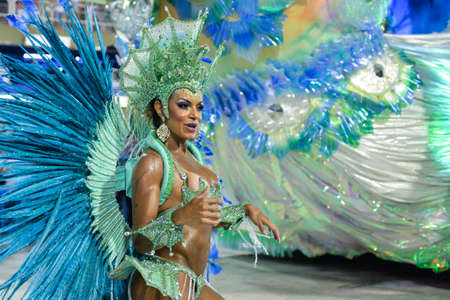 Rio, Brazil - february 11, 2018: Samba School parade in Sambodromo. Inocentes de Belford Roxo during parade of the carioca carnival in the Marques de Sapucai Editorial
