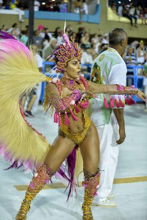 Rio, Brazil - february 11, 2018: Samba School parade in Sambodromo. Imperio Serrano during parade of the carioca carnival in the Marques de Sapucai