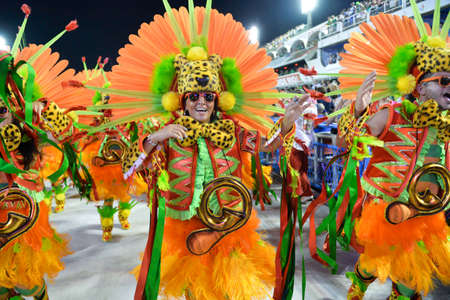 Rio, Brazil - february 12, 2018: Samba School parade in Sambodromo. Grande Rio during parade of the carioca carnival in the Marques de Sapucai