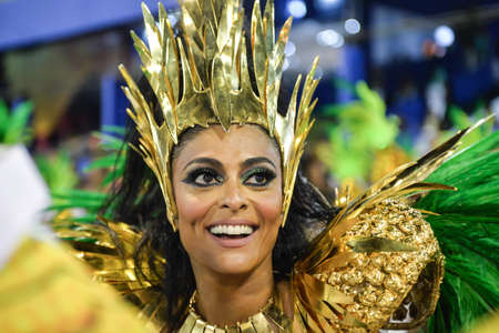 Rio, Brazil - february 12, 2018: Samba School parade in Sambodromo. Grande Rio during parade of the carioca carnival in the Marques de Sapucai, Juliana Paes
