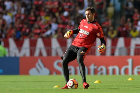Rio, Brazil - april 17, 2018: Julio Cesar during training of the Flamengo team preparing for the Libertadores Cup game this Wednesday at Maracana against Santa Fe Editorial