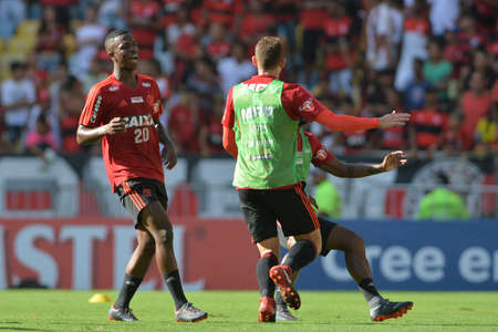 Rio, Brazil - april 17, 2018: Vinicius Junior during training of the Flamengo team preparing for the Libertadores Cup game this Wednesday at Maracana against Santa Fe
